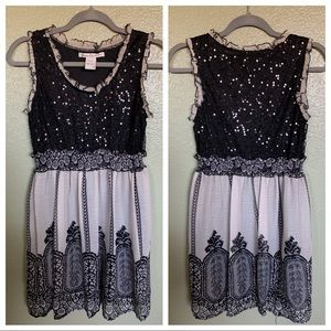 Sequin smock mini dress